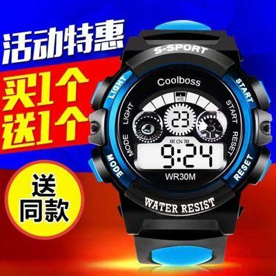 儿童手表男孩女孩中小学生小孩电子手表高中生夜光防水闹钟电子表