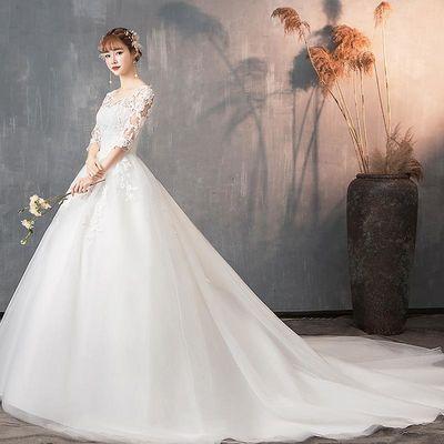 主婚纱2020新款拖尾礼服女新娘结婚公主简约显瘦一字肩轻婚纱超仙