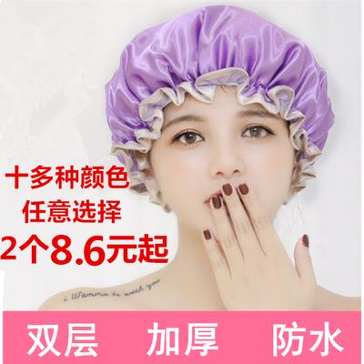 双层加厚防水成人女款浴帽厨房帽子防尘防油烟头套洗头洗澡浴帽
