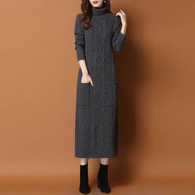 中长款毛衣裙过膝加厚秋冬季2019新款女装内搭宽松高领打底针织衫