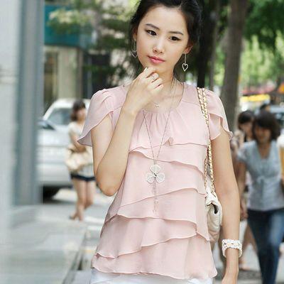 2020女士特大码上衣夏季韩版女装拼接短袖清凉雪纺衬衫特价包邮