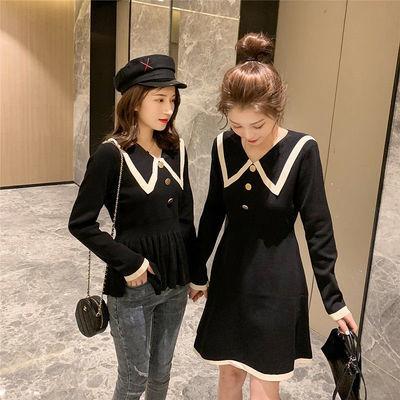女装外套2020春季新款学生宽松韩版中长款针织毛衣连衣裙
