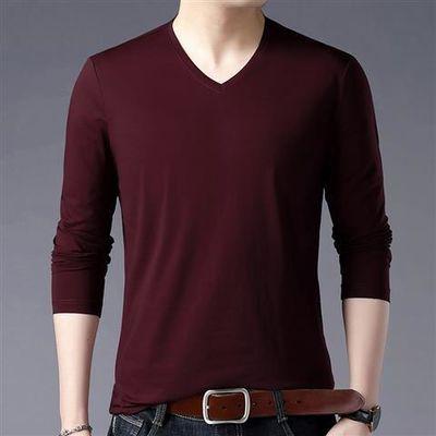 中青年男士长袖t恤打底衫薄款v领宽松爸爸秋装中年人聚酯纤维上衣