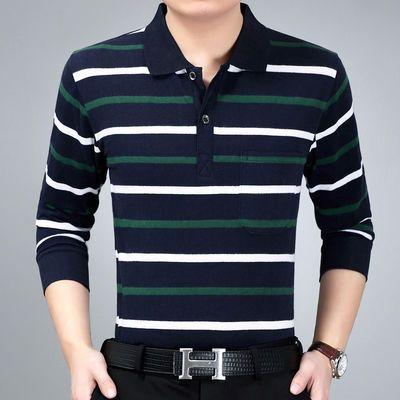 秋季中年男士长袖T恤宽松加肥加大爸爸装休闲条纹POLO衫男装秋衣