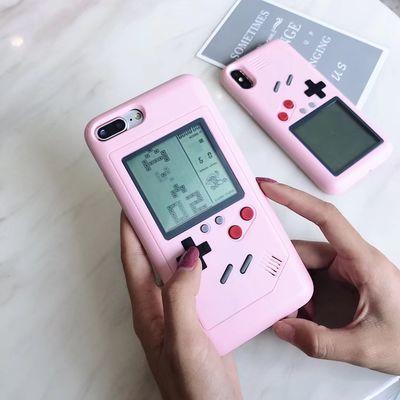 俄罗斯方块手机壳苹果8plus抖音女款7p游戏机6s个性创意x粉色新款
