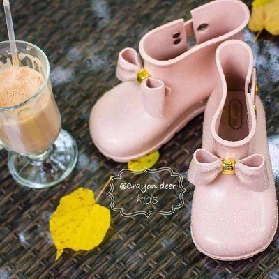 儿童蝴蝶结雨鞋小童幼儿园短筒女童防滑防水鞋