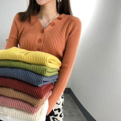 V领针织衫女秋冬季新款加厚打底开衫外套长袖修身上衣温柔风毛衣