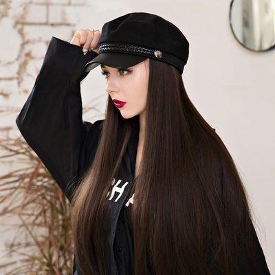 假发女时尚海军鸭舌帽子长直发帅气自然网红黑长卷一体冬天全头套