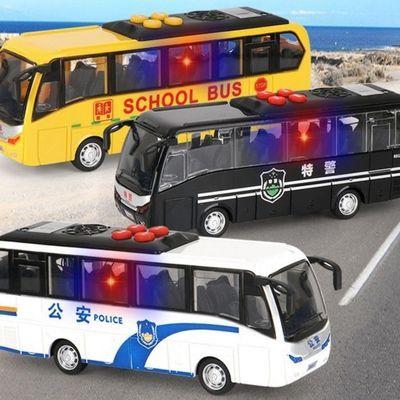 男孩玩具公安车警车仿真模型回力声效闪光会讲故事会唱歌公共汽车