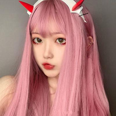 假发女中长直发隐形全头套式网红lolita洛丽塔逼真浅粉色社会发型