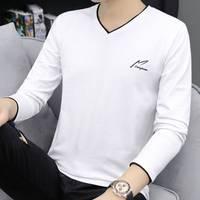 【95棉】春季男士长袖T恤V领韩版修身休闲男装上衣纯色打底衫薄款