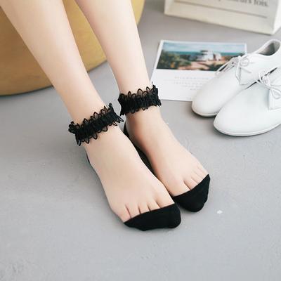 网红同款蕾丝花边夏季袜子复古公主袜超波款透明水晶丝袜仙女袜子