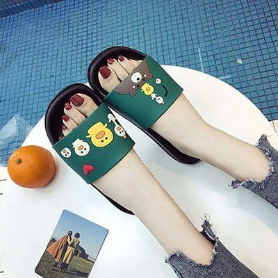 学生宿舍居家可爱情侣一字拖凉拖鞋女夏季外穿防滑卡通拖鞋厚底