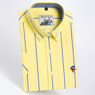 保罗夏季纯棉男士牛津纺短袖衬衫男时尚休闲薄款商务高档大码男装