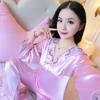 春秋薄款韩版睡衣女士长袖仿真丝蕾丝夏季性感大码两件套装家居服