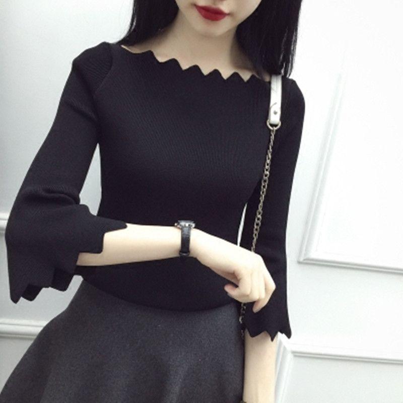 喇叭袖针织衫女黑色毛衣修身学生荷叶边一字肩时尚春季上衣女新款