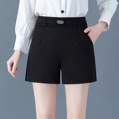 黑色短裤女夏高腰新款外穿直筒休闲裤百搭显瘦宽松大码西装阔腿裤