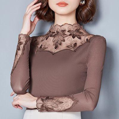 2020秋装新款网纱打底衫女长袖t恤加绒保暖蕾丝上衣小衫大码纱衣