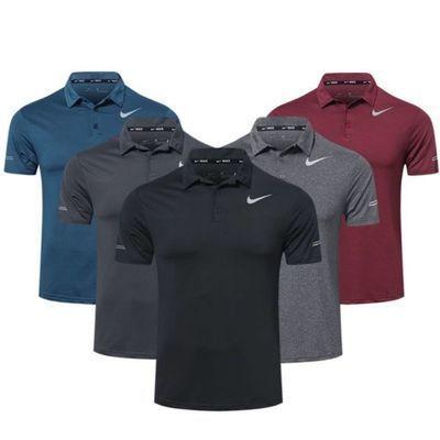 T恤健身服翻领短袖速干衣POLO高尔夫透气t户外运动恤男跑步训练服
