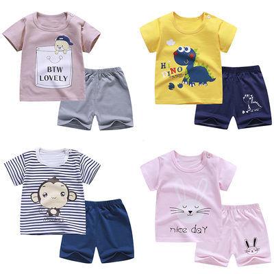 夏季儿童套装纯棉t恤男童女童短袖短裤两件套宝宝婴儿小女孩衣服