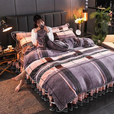 珊瑚绒四件套加厚法兰绒被套床单三件套冬季双面绒床上用品床裙款