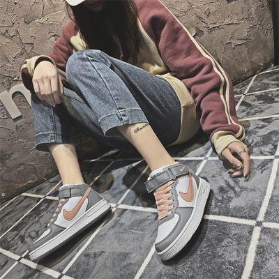 春季高帮鞋女学生韩版百搭原宿休闲运动板鞋小白鞋空军一号AJ女鞋