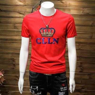 亮片皇冠短袖T恤男士青年修身圆领纯棉半袖欧美潮牌上衣夏季新款T