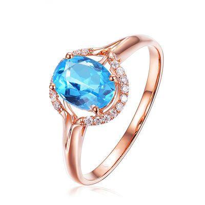 欧美奢华新款玫瑰金色蓝宝石开口戒指女满钻海蓝托帕石银活口钻戒