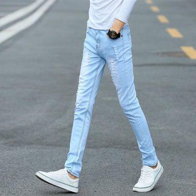 夏季破洞裤浅蓝色破洞牛仔裤男士韩版修身小脚裤潮男装弹力男裤子