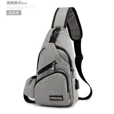 胸包男潮牌单肩包斜挎包大容量运动休闲包带水杯背包牛津布胸前包