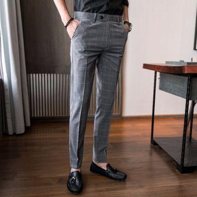 夏季款男士商务休闲格子西装长裤子韩版修身免烫小脚直筒西裤男潮