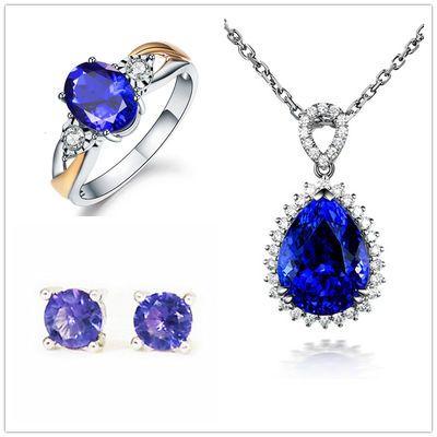 欧美新款坦桑石吊坠女镶钻水滴形蓝宝石项链彩宝开口戒指纯银套装