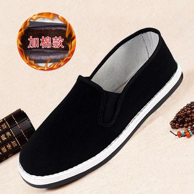 春季新款老北京布鞋男单帆布鞋工作鞋透气防滑黑布厚底男爸爸鞋子