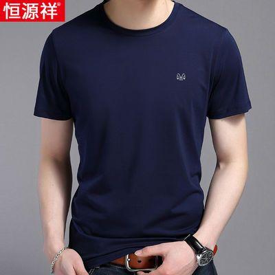 恒源祥中年男士短袖T恤40-50岁爸爸夏装纯棉薄款�B��衫圆领上衣男