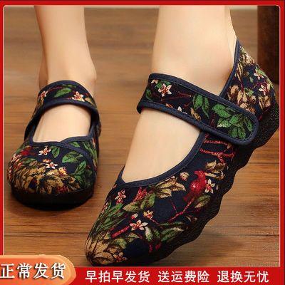 女式老北京布鞋女上班北京布鞋新款老年鞋妈妈绣花春季女士帆布鞋