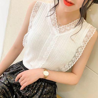 2020新款甜美V领蕾丝针织背心女夏 韩版修身外穿内搭无袖上衣打底
