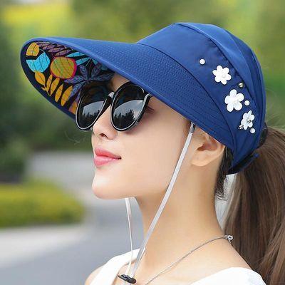 帽子女夏天户外遮阳帽骑车运动帽防紫外线防晒帽可折叠空顶太阳帽