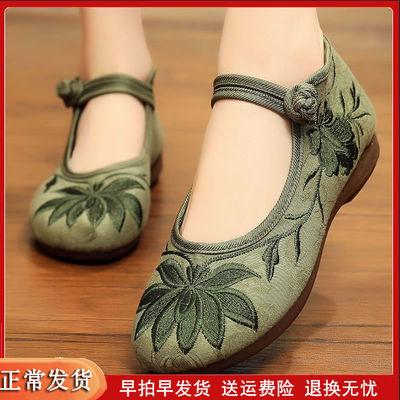 女式老北京布鞋女绣花鞋民族风中老年妈妈鞋春秋平底软底女士单鞋