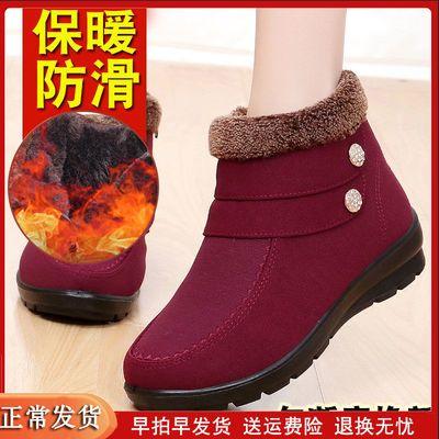 中年妇女雪地靴女妈妈款厚底防滑加绒保暖女鞋2019冬季女士布棉鞋