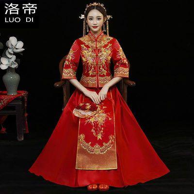 高档秀禾服男女婚礼服装新款结婚新娘红色中式礼服 婚庆装扮旗袍