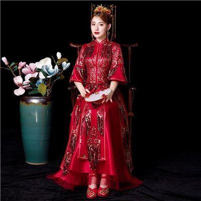 2020秀禾服敬酒服红色刺绣气质嫁衣新娘中式婚纱礼服龙凤褂喜服