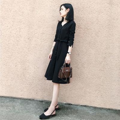 黑色连衣裙2020夏季新款女装韩版显瘦春秋中长款V领a字赫本小黑裙
