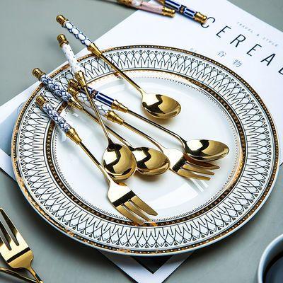 304不锈钢勺叉西餐勺下午茶咖啡甜品勺叉子小叉子搅拌勺汤匙