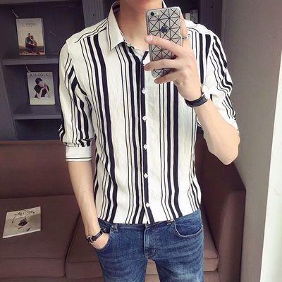 衬衫男网红韩版潮流痞帅精神小伙条纹五分袖衬衣夏季男士中袖上衣