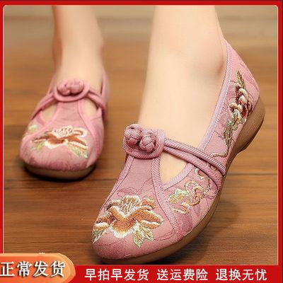 老北京布鞋2019夏季新款软底妈妈绣花鞋中国风复古中老年人鞋子夏