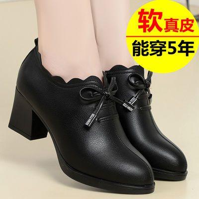 妈妈鞋子软底女春秋单鞋秋冬女鞋2020新款中年中老年中跟真皮皮鞋