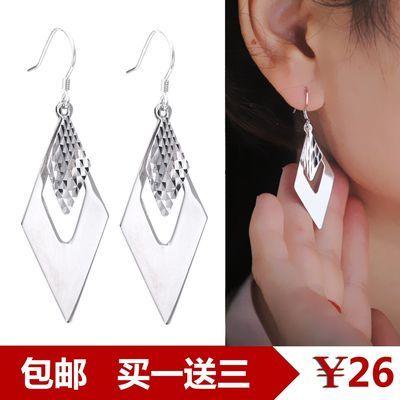 正品S925纯银包邮长款耳环女韩版光面耳钉百搭耳坠耳饰礼物防过敏