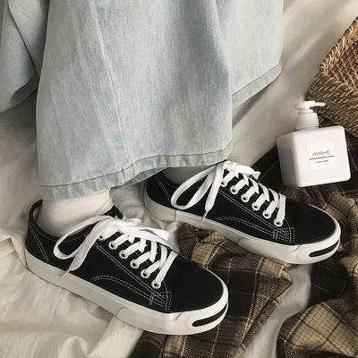 开口笑经典帆布鞋子2020春季新款女学生韩版百搭休闲单鞋小白鞋女