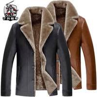【海宁专柜正品】冬季加绒加厚男士外套中年男皮衣皮夹克男装衣服