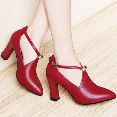 高品质高跟鞋女粗跟2020新款潮韩版百搭四季单鞋女皮鞋女结婚鞋子
